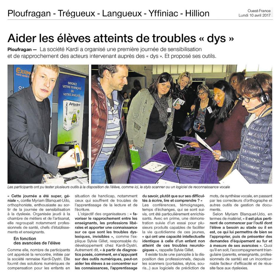 Article Ouest France du lundi 10 avril 2017