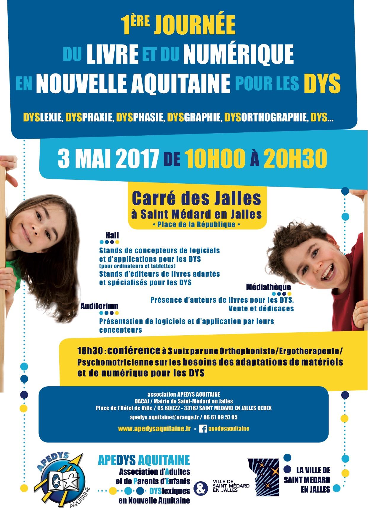 Affiche Salon du livre et du numérique pour les Dys - 3 mai 2017