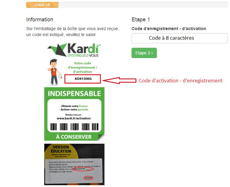 kardi.fr page d'enregistrement logiciel
